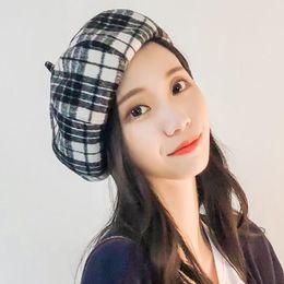 NOVO outono e inverno boina quente rua tendência inverno chapéu de lã plaidist de