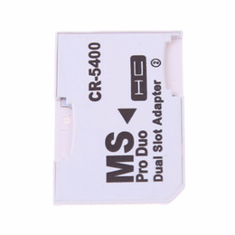 Wholesale pro duo memory cards - High Quality Dual Micro SD TF to Memory Stick MS Pro Duo Adapter CR-5400 CR5400 For PSP Card Dual 2 Slot Adapter