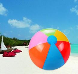 Wholesale Inflatable For Beach - Beach Ball The New 6 Colour Striped Rainbow Beach Ball Outdoor Beach Ball Water Sports Balloon For Children 23cm