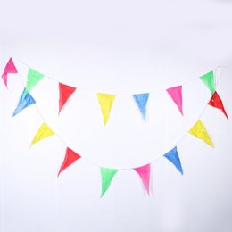 Wholesale Birthday Bunting - 1pc 10m Rainbow Wedding Bunting Flags String Banner Markets Party Birthday Christmas Decoraion christmas banner