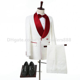 Wholesale best selling groom tuxedos - Hot Selling Groomsmen White Pattern Groom Tuxedos Shawl Red Lapel Men Suits Side Vent Wedding Prom Best Man ( Jacket+Pants+Tie ) K971