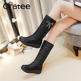 e93879d2c Nueva moda botas para la nieve de diamantes de imitación cuñas tacones  altos de piel gruesa dentro de invierno mediados de pantorrilla botas damas  mujeres ...