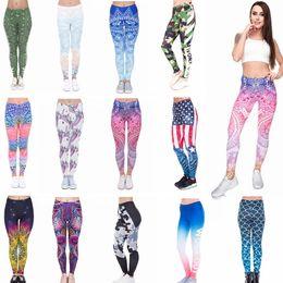 Pantaloni yoga stampa digitale online-Leggings donna Yoga Pantaloni Mandala Floral 3D Digital sirena stampa Slim Fitness allenamento corsa calzamaglia Pantaloni 12pcs AAA648