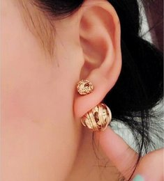 Wholesale Black Metal Earrings - NEW Europe and the United States fashion personality metal woven ball earrings heart gifts earrings jewelry cz913671