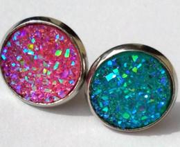 Wholesale rainbow druzy - 10Pairs Elegant stainless steel Freeform Rainbow Druzy Stud Earrings for Women Girls, New Gems Drusy Earrings Jewelry