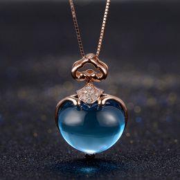 голубой алмаз океана Скидка 7ct океан синий топаз 18 к розовое золото Алмаз кулон природные ожерелье Сердце дизайн Валентина подарок ювелирные изделия gemstome кулон
