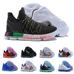 Wholesale kd shoes mens - 2017 FMVP Correct Version Kevin KD X 10 Elite 8 Playoffs Mens Basketball Shoes Warriors Home Wolf Durant 10s Training Sport Sneakers