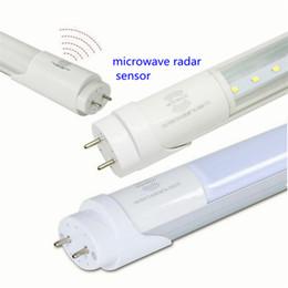 Wholesale Led Tube Sensor - Smart led tube light radar motion sensor microwave detect T8 tube 1200mm 18w 600mm 9w brightness lunar 2ft 4ft G13 for Warehouse garage