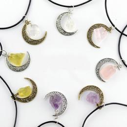 Gioiello in pietra di luna online-collana di cristalli in pietra naturale cielo stellato tempo GEM PENDENTE luna irregolare Vintage pietra naturale ciondolo luna collana gioielli in cristallo di quarzo