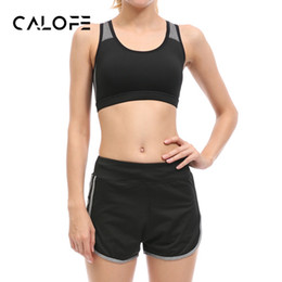 Wholesale Tennis Suits Girls - Wholesale- CALOFE Demountable Women Yoga Sets Bra Shorts Fitness Sets Women's Gym Sports Running Tennis Girls Slim Leggings Tops Sport Suit