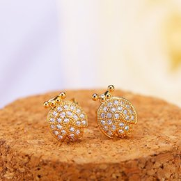 Wholesale 24k Gold Stud Earrings - Brand New 24K Gold Plated Stud Earring For Women Top Fashion CZ Simulated Diamonds Hot Sale Wholesale Classic Jewelry Free Shipping