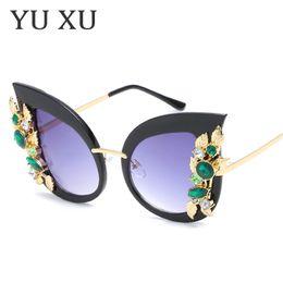 máscaras de moda feminina olho Desconto Olho De Gato De Cristal verde Diamante Óculos De Sol Das Mulheres Marca Óculos de Designer de Moda Feminina Shades Óculos de Sol UV400 H35