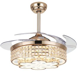Wholesale crystal chrome ceiling lights - Modern LED Luxury 42 inch Invisible Retractable Crystal Ceiling Fans With Lights Bedroom Folding Ceiling Fan Lamp Remote Control MYY