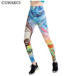 Wholesale Graffiti Legging - CUHAKCI Graffiti 3D Print Leggings Women 21 Designs Painting Legging Fitness Floral Stripe Jeggings Scale High Stretch Leggins