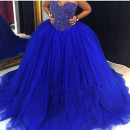 Wholesale Image Arts Photo - Real Photos Royal Blue Quinceanera Gowns 2018 Sweetheart Beaded Crystal Lace Up Ball Gown Sweet 16 Dresses 15 Years Prom Formal Wear