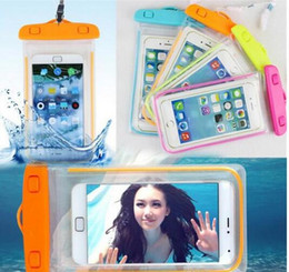 Wholesale iphone 4s pouches - 10PCS Clear Waterproof Pouch Dry Case Cover For Camera Mobile phone Luminous Waterproof Bags for IPHONE 4 4S 5 5S 6 6S PLUS factory Outlet