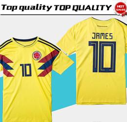 Uniformes amarelos on-line-2018 copa do mundo Colômbia camisa de futebol Colômbia Casa camisa de Futebol amarelo 2018 copa do mundo # 10 JAMES Tailandês uniforme vendas de Futebol