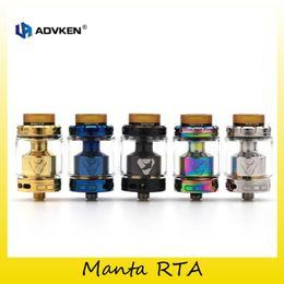 Wholesale tube boxes wholesale - Authentic Advken Manta RTA Tank 3.5ml 5.0ml Capacity Glass PEI Tube Atomizer For 510 Thread Box Mod 100% Original