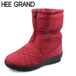 Wholesale cube shoes - HEE GRAND Plus Size Flexible Cube Woman Boots High Quality Cozy Warm Fur Inside Snow Boots Winter Shoes Woman XWX3375