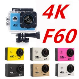Wholesale Used Car Videos - 2018 New 4K 15FPS Action Camera F60 Cam Wifi Waterproof 1080P 60FPS Video Cam Sports Camera 170 Degree Sport DV Car Drone Bycycling Recorder