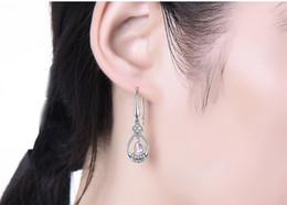 Wholesale Blue Moonstone Earrings - Moonstone clover Earrings 925 silver female temperament Korean Earrings long stone earrings personality lover Christmas gift girlfriend