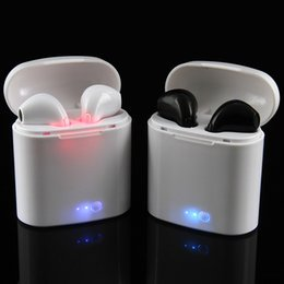 Wholesale wireless charger double - I7 TWS Wireless In-Ear Earphones Bluetooth 4.2 Double Ear Side Headsets Stereo Music Charger for iPhone 6 7 8 Plus X S8