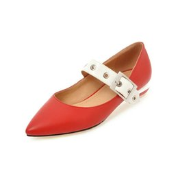 Wholesale Small Shoes Size 31 32 - Spring new shoes 31 32 33 small size female thick with low-heeled pointed shoes 40-43 44 45 46 large size belt buckle shoes