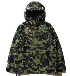 Wholesale Men S Dust Coat - Teenager Hot 4 Colors Camo Jackets Men's Camouflage Jackets Shark Head Jacket Dust Coat Wind Breaker Casual Hooded Outwear