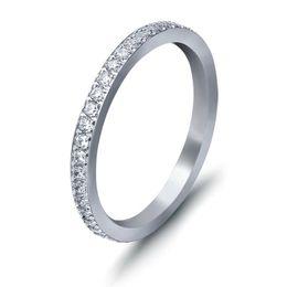 Deutschland Klassische Weiße Strass Ring Einfache Edelstahl Schmale Ring Für Frauen Mode Geburtstag Memorial Day Geschenk Schmuck Zubehör Großhandel Versorgung