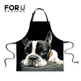 Wholesale Cooking Works - Forudesigns Funny Black Kitchen Aprons Cute Printed Animal Dog Cat Cooking Apron For Men Women Novelty Chef Cafe Work Aprons