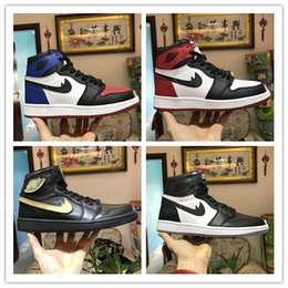 Wholesale Falling Reverse - Retro 1 basketball shoes bred banned Top 3 royal reverse shattered backboard Black Toe Chicago UNC Metallic Red men women sneakers US 7-13