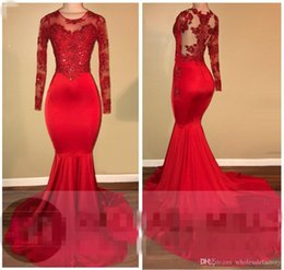 Wholesale Dark Red Shirt - 2018 Red Sheer Long Sleeves Satin Mermaid Evening Dresses Crew Neck Lace Applique Beaded Sweep Length Party Prom Gowns