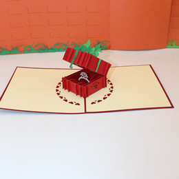 Wholesale Invitation Paper Box - 3D Laser Cut Handmade Carving Wedding Diamond Ring Box Paper Invitation Greeting Cards Valentine's Day Girlfriend Creative Gift