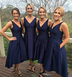 Wholesale Pocket Bridesmaid Dresses - 2018 Sexy Navy Blue V-Neck High Low Bridesmaid Dresses Satin Simple With Pockets Maid Of Honor A-Line Evening Gowns Plus Size Formal Dresses
