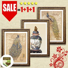 Wholesale Peacock Painting Framed - Oriental chinese painting art vintage peacock vase decoration nobility simple luxury classic art decor oil canvas painting