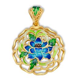 enamel pendants silver 925 UK - Cloisonne Enamel 925 Sterling Silver Hollow Louts Flower Pendant
