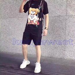 2019 altalene di lusso 2018 Europa moda estate mens di alta qualità Swing orso fiore stampa T-shirt Top uomo donna strada Luxury Cotton T Shirt Casual Tee altalene di lusso economici