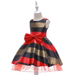 red striped bow 2018 - 2018 European and American Children's Assembly Color Striped Fluffy Dress Girl Skirt Flower Girl Wedding Dress
