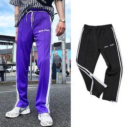 Wholesale men ankle length pants - Palm Angels Track Pants Men Women Fashion Side Stripe Casual Pants Black Purple Ankle-Zipper Jogger Pants Hip Hop Trousers