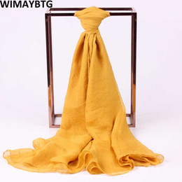 Wholesale chiffon silk scarf solid color - 2018 New Spring Summer Beach Solid Color Oversized Thin Scarf Women Fashion Sunscreen Chiffon Casual Soft 180*60 Silk Scarves