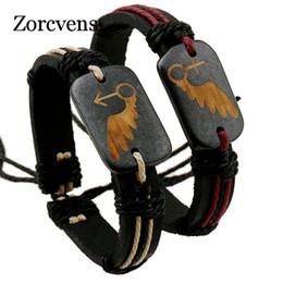 Wholesale Id Cuff - whole saleZORCVENS Ethnic Style Vintage Lovers Bracelets Adjustable Leather Wrap ID Bracelet Best Friend Gender Symbol Bracelet For Couple