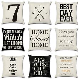 18 * 18 pulgadas decorativa Throw Pillow Case cubre lino algodón mezcla Feather carta casa coche sofá cojín 26 diseños 45 * 45 cm TY7-258 desde fabricantes