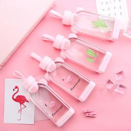 flamingo de vidro Desconto 350 ml Dos Desenhos Animados Flamingo Garrafa De Água De Vidro com Capa de Proteção Tumbler Leite Chá Infusor Presentes para Meninas De Volta à escola LZ1509