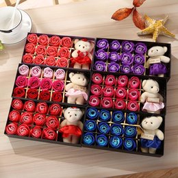 Wholesale Valentines Day Boxes - Romantic Rose Soap Flower With Little Cute Bear Doll 12pcs Box Gift For Valentine Day Giftsfor Wedding Gift or birthday Gifts