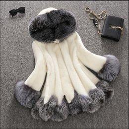 Wholesale Plus Size Mink Coats - 2016 women's clothing long plus size M L XL 2XL3XL4XL 5XL 6XL white black thick warm mink fox fur trim hooded coat long velvet