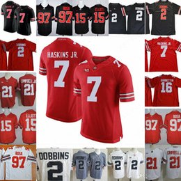 negro camiseta de julio jones Rebajas Ohio State Buckeyes # 2 JK Dobbins # 7 Dwayne Haskins Jr. # 97 Nick Bosa # 15 Elliott White Red Black Camo Camisetas de fútbol universitarias