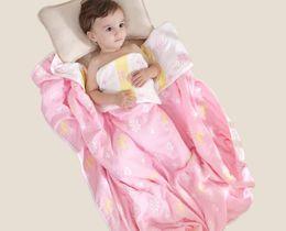 110 * 110 cm Bebê Criança Colcha de Verão Quilting Quilting Cama 100% Algodão Gaze Cuidados Com A Pele Bonito Projeto Toalha de Banho de Algodão de