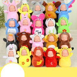 Wholesale super cute girl baby - Sleeping Baby Key Buckle Animal Shape Mini Super Cute Dream Doll Toy Knapsack Plush Accessories Hot Sale 6yk W