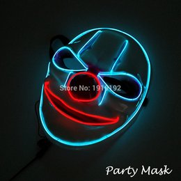 Free shipping Sound Flashing Glowing Clown Masks 10 colors Available El Wire Mask for Halloween Rave Mask Christmas Party Decor от Поставщики оптовые маскарадные прелести