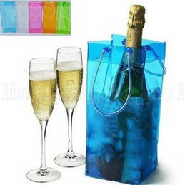 Wholesale ice bucket champagne - Chiller Ice Bag Champagne Wine Cooler 0.5mm 11*11*25cm Wine Accessories Portable Beer Cooler Transparent PVC Outdoor Bag Ice Buckets OOA5219